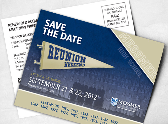 Messmer Catholic Schools Reunion Weekend Save the Date 2012 Marketing Design