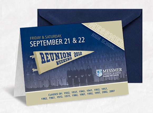 Messmer Catholic Schools Reunion Weekend 2012 Invite Marketing Design